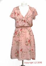 L153/14 Jario Women's Romantic Ethereal Silk Salmon Floral Summer Dress, size 8