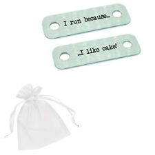 I Run Because I Like Cake! Race Metal Trainer Lace Tags Running Gift Shoes