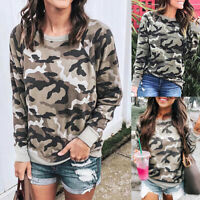 Women Long Sleeve Sweatshirt Tops Ladies Camouflage Pullover T-Shirt Blouse Top