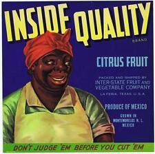 Inside Quality, vintage fruit crate label, African american, la feria texas