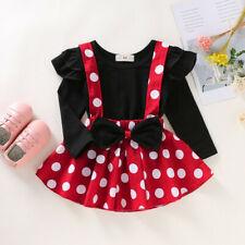 Toddler Baby Girls Ruffles T-Shirt Tops+Dot Print Suspender Skirts Outfits Sets