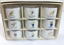 Pottery Barn Santa Reindeer Napkin Rings Holder Ceramic Christmas Decor Japan