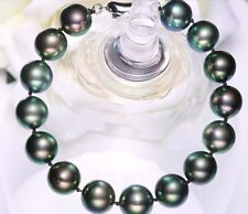 Charming 9-10mm round Tahitian black green pearl bracelet 7.5-8inch 925s Y3381