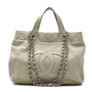CHANEL 2way Chain Shoulder Bag leather Gray Used Women logo SHW CC Coco