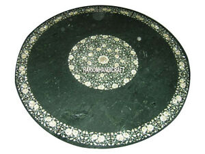 "30"" Green Marble Center Table Top Inlaid Work & FREE Round Plate Bedroom Decor"