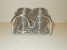 4 Chrome Effect Egg Cups in Chrome Effect Stand  Lovely