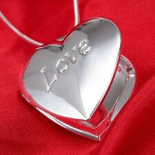 Women Fashion 925 Silver Love Heart Open Pendant Necklace Chain Jewelry Wedding