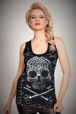 Cold Heart Ladies Vest  Skull & Cross Keys  size Medium ( UK 12)