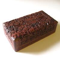 Hand Carved Wood Keepsake Stash Trinket Box Wooden Flower Pattern M