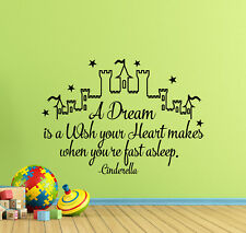 Cinderella Wall Decal Quote Castle Sign Vinyl Sticker Disney Decor Poster 871
