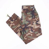 Vintage Green Army Woodland Camo Printed Men's Combat Cargo Pants W34 L33