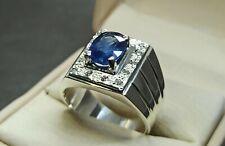 Natural 5 Ct Ceylon Blue Sapphire Sterling Silver 925 Handmade Neelam Women Ring