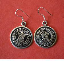 Sterling Silver MAYA Calendar Dangle Earrings 7/8 Diameter .925 NEW