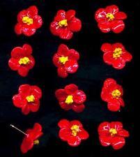 12 Vintage Deep Red Painted Enamel Metal Flowers Earring Wire Finding