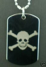 JOLLY ROGER Skull and Cross Bones  Dog Tag Pendant Necklace