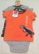 NWT Carter's Boys Size 18M 3-Piece Set CAMO Shorts DINOSAUR Orange Top Bodysuit