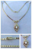 Goldcollier 585er Gold mit Opal und Brillanten Kette Collier Goldschmuck 43 cm