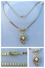 COLLANA IN ORO 585er con opale e brillanti collier gioielli 43 cm