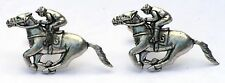 Horse Racing Cufflinks Pewter UK Handmade Equestrian Gift Boxed Ideal Rider NEW!