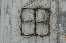 Handmade Primitive Rustic Folk art Birch Wood TWIG COUNTRY WINDOW FRAME Wreath