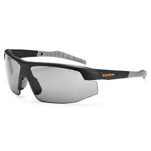 Ergodyne Skullerz Skoll Safety Glasses w/ Fog Off Smoke Lens, Black Frame, 59033