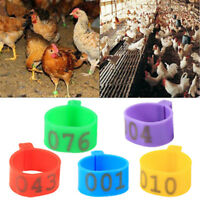 100X 16mm Clip On Leg Band Rings for Chickens Ducks Hens Poultry Large F W^DAD