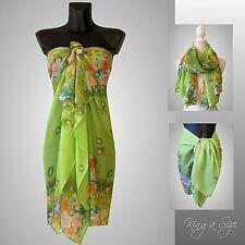 Sommer Pareo Schal Sarong Strandtuch Wickelrock Strandkleid Beach Dressgrün