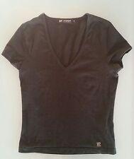 T shirt maglia donna 55% seta 40% cotone  nera taglia S scollo v NUOVA