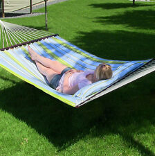 Sunnydaze Blue & Green Quilted Double Fabric Hammock with Bars, Pillow and Stand