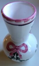 Beautiful Decorative Glass Vase with a Pink Bow And Floral Design