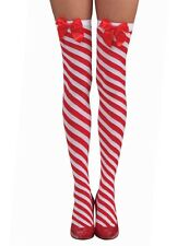 Candy Cane Thigh Highs - Red and White Christmas Stockings fnt