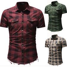 New Mens Shirts Short Sleeve Slim Fit Hair edge Plaids Denim Made Hole CAD173