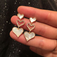 Earrings Nails Chandelier 3 Heart Nacre Cz Gold Plated 18K Marriage G9 D