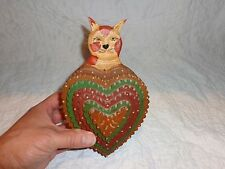 Walter & June Gottshall Wood Folk Art Wall Pocket Tramp Art Style Cat Carving