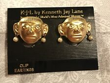 NEW KJL KENNETH JAY LANE COUTURE COLLECTION GOLD METAL Polynesian CLIP EARRINGS