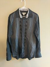Wilke-Rodriguez black striped long sleeve shirt size L Western Mexican cowboy