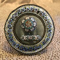 Antique Italian Micro Mosaic Round Frame and Two Jewelry Pins