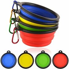 2 Portable Travel Collapsible Pet/Dog Food/Water Bowls 1 cup food or 12 oz water