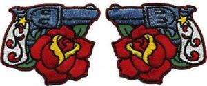 Guns & Roses Pair PATCH Set Embroidered Iron-On RDP04 Reed