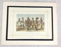 1882 Antico Stampa Tradizionale Africano Costume Abito Etiope Tribale Warrior