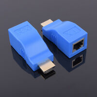 EE_ AM_ 2Pcs 1080P HDMI Extender to RJ45 Over Cat 5e/6 LAN Ethernet Adapter Conv