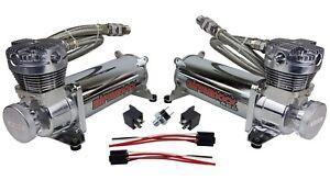 airmaxxx 480 Chrome Air Compressors 200 psi Switch Air Ride Suspension Or Horn