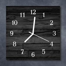 Glass Wall Clock Kitchen Clocks 30x30 cm silent Wood Black