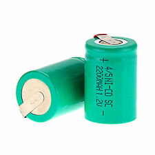 2Pcs NiCd 4/5 SubC Sub C 1.2V 2200mAh Rechargeable Battery with Tab Color Green