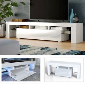 High Gloss TV Unit Stand Cabinet LED Living Room Drawer Furniture Modern White