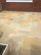 Sawn and Honed Gold Leaf Indian Sandstone Paving Patio Slabs. 20mm