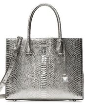 60a7a9eb7f40 New Michael Kors Mercer Large Convertible Tote silver luxe metallic leather  bag