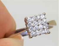 18CT 18 CARAT WHITE GOLD 0.25 CT DIAMOND SQUARE CLUSTER  ENGAGEMENT RING SIZE L