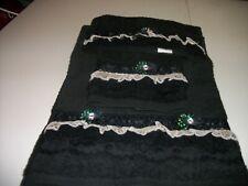 3Pc Black Towel With Gold Laces Bath Towel Sets