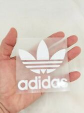 White adidas flora sticker iron on sport logo patch 8 x 8 cm. velvet & glue DIY